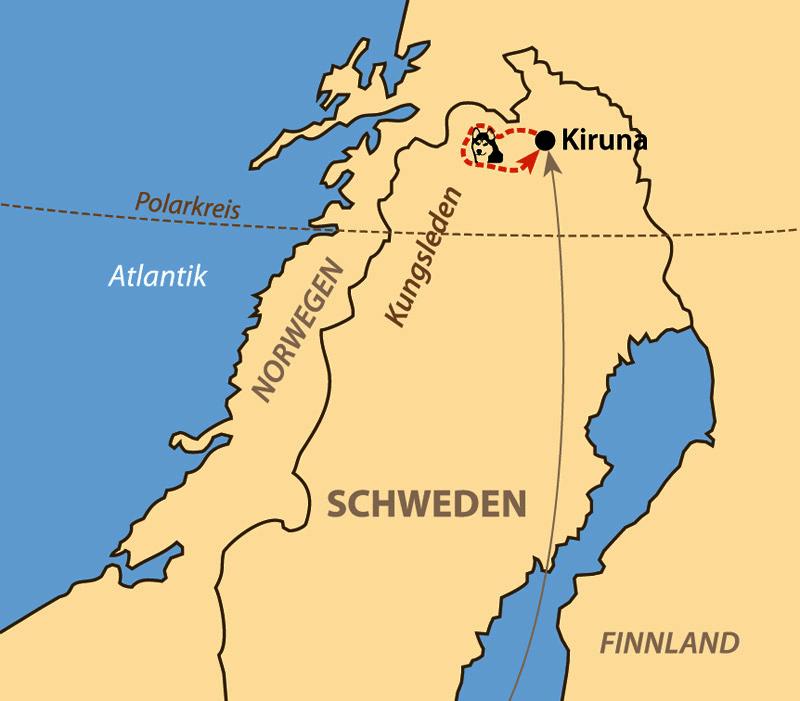 Karte: Mit Huskys auf dem Kungsleden