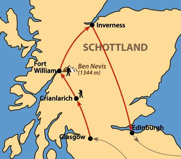 Karte: Unterwegs in den Western Highlands