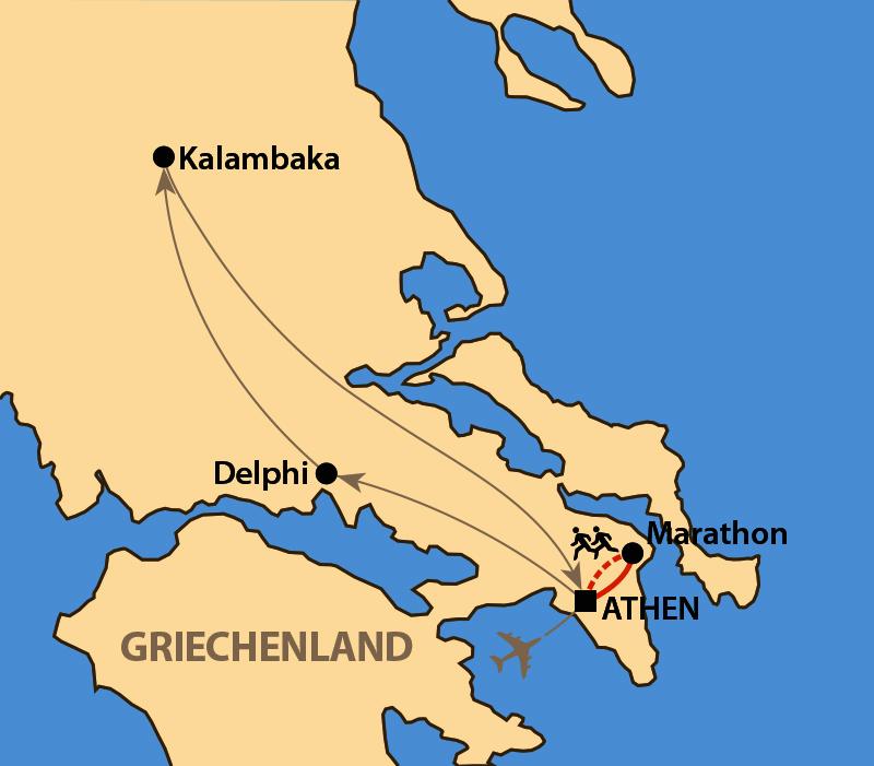 Karte: Athen-Marathon