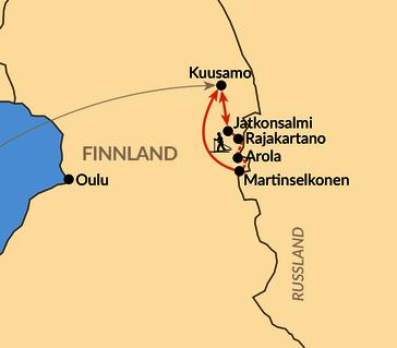 Karte: Skiwandern entlang der russischen Grenze