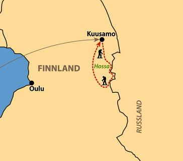 Karte: Schneeschuhwandern in Ostfinnland