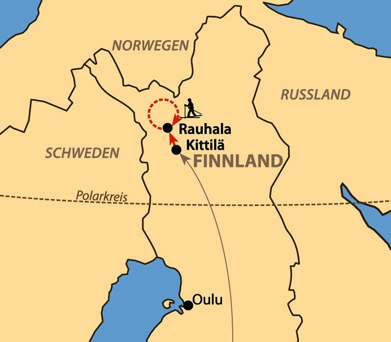 Karte: Mit Backcountryski durch Finnisch-Lappland