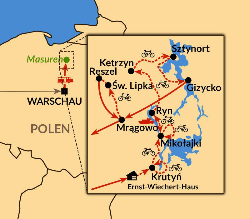 Karte: Per Rad zu den Höhepunkten Masurens