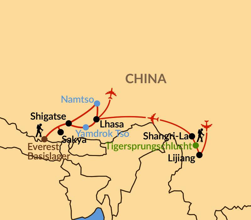 Karte: Tibet von Shangri-La bis zum Everest