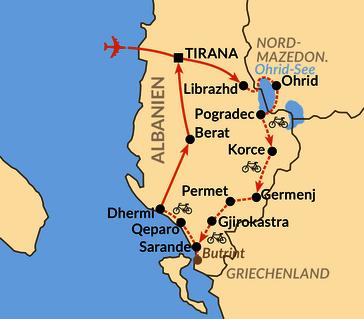 Karte: Bergluft und Meeresrauschen – Radurlaub in Südalbanien