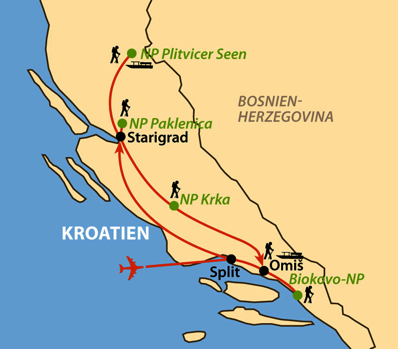 Karte: Höhepunkte Dalmatiens von Nord nach Süd