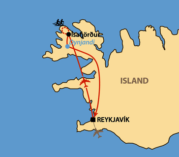 Karte: Fossavatn - Der Worldloppet auf Island