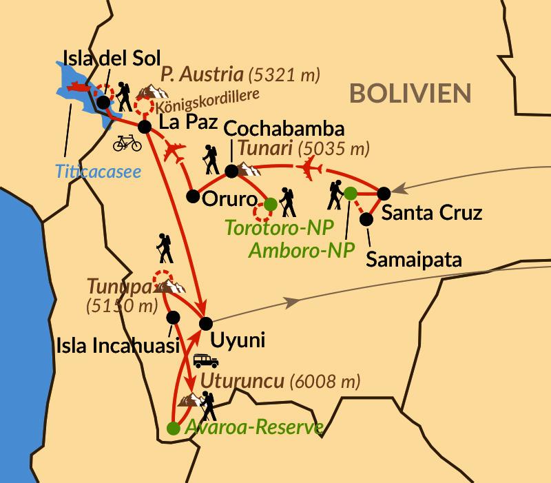 Karte: Zwischen Amazonas und Königskordillere