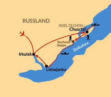 Karte: Baikal – Mit dem Seekajak entlang der malerischen Küste und um die Insel Olchon