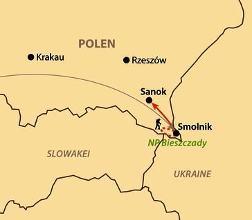 Karte: Herbst-Wanderungen in den polnischen Waldkarpaten