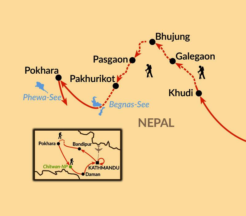 Karte: Lamjung Himal - auf einsamen Wegen in der Annapurna Region