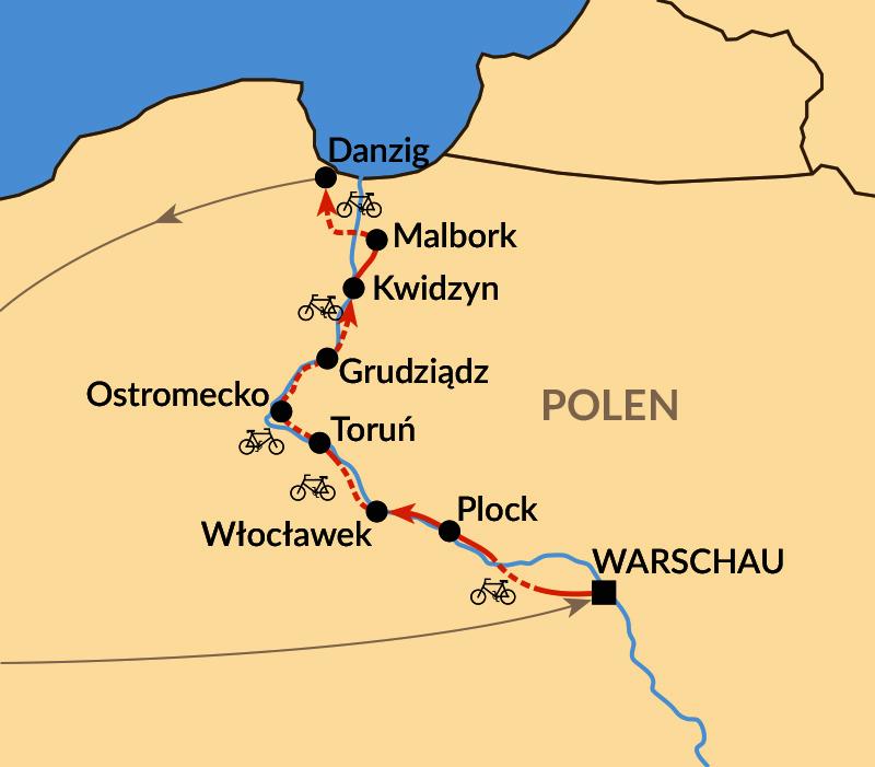 Karte: Radtour nördliche Weichsel - von Warschau bis Danzig