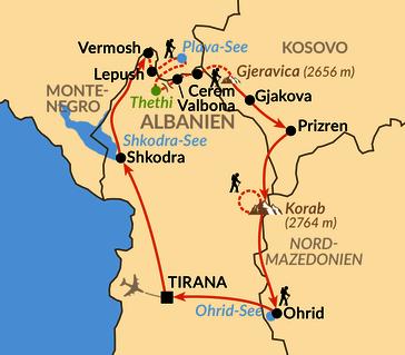 Karte: Die Gipfel des Balkan – auf den schönsten Wanderrouten der südlichen Via Dinarica