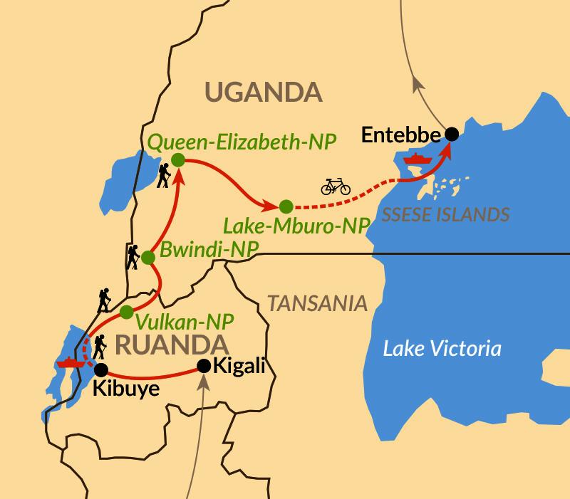 Karte: Aktiv durch das ostafrikanische Rift Valley