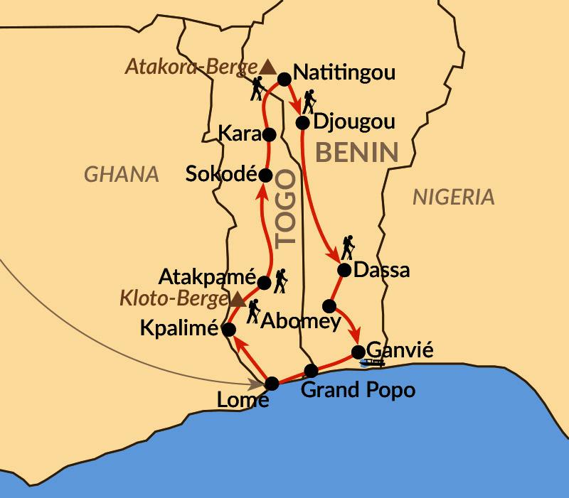 Karte: Wandern und Voodoo in Westafrika