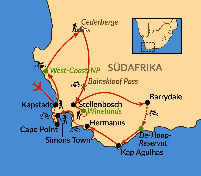 Karte: Outdoor-Paradies Western Cape und Kapstadt