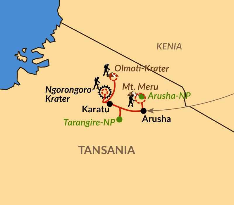 Karte: Wandersafari rund um den Ngorongoro-Krater