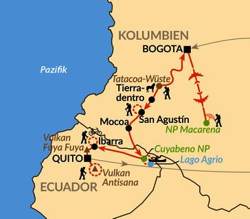 Karte: Sonderreise - Aktiv von Südkolumbien nach Nordecuador mit Eckhard Fella