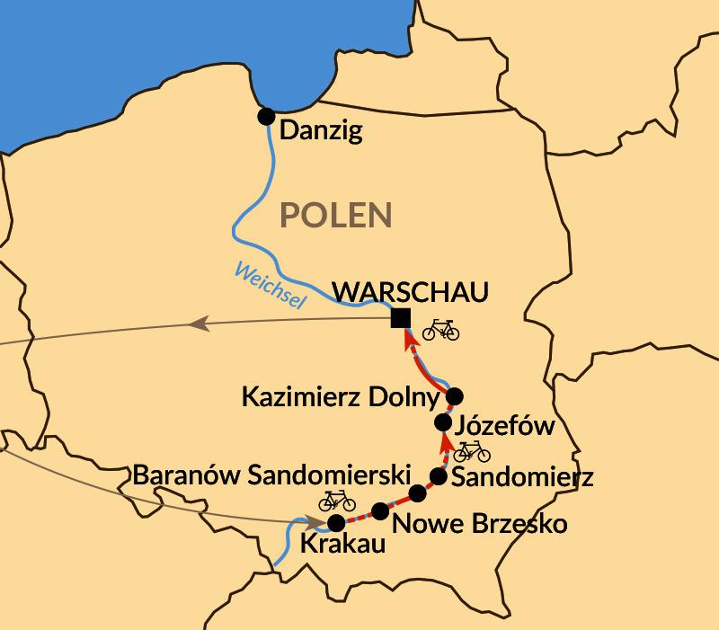 Karte: Radtour südliche Weichsel - von Krakau bis Warschau