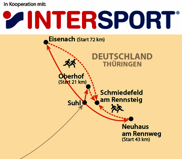 Karte: GutsMuths-Rennsteiglauf in Kooperation mit INTERSPORT