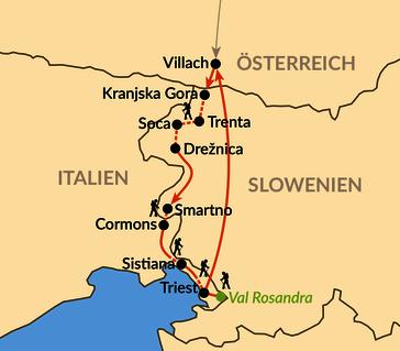 Karte: Über die Julischen Alpen bis zur Adria