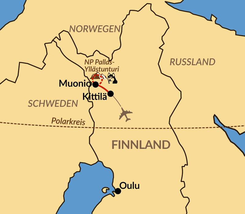 Karte: Hundeschlitten-Abenteuer in Finnisch-Lappland