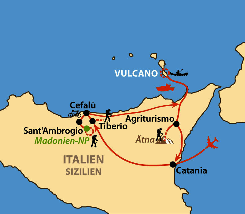 Karte: Sizilien aktiv - von Ätna bis Vulcano