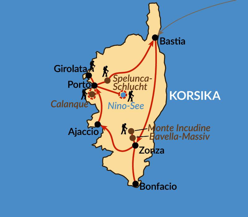 Karte: Korsikas Bergwelten