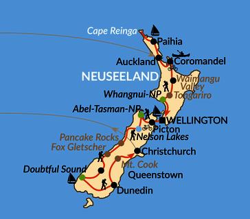 Karte: KIA ORA! – Neuseeländische Abenteuer