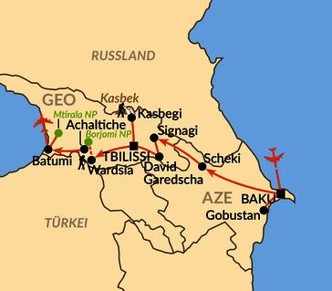 Karte: Vom Kaspischen bis zum Schwarzen Meer
