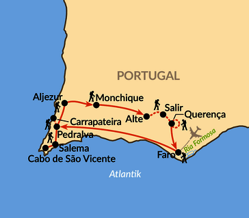 Karte: Die Algarve - Wandern und Genießen am Südwestzipfel Europas