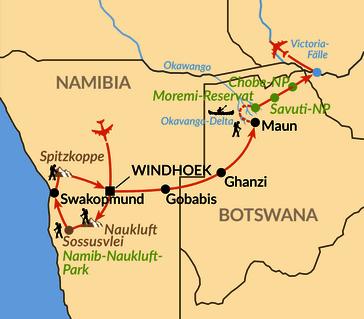 Karte: Glanzlichter von Namibia und Botswana