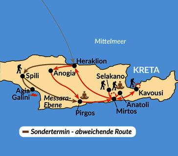 Karte: Kreta slow - unterwegs mit allen Sinnen