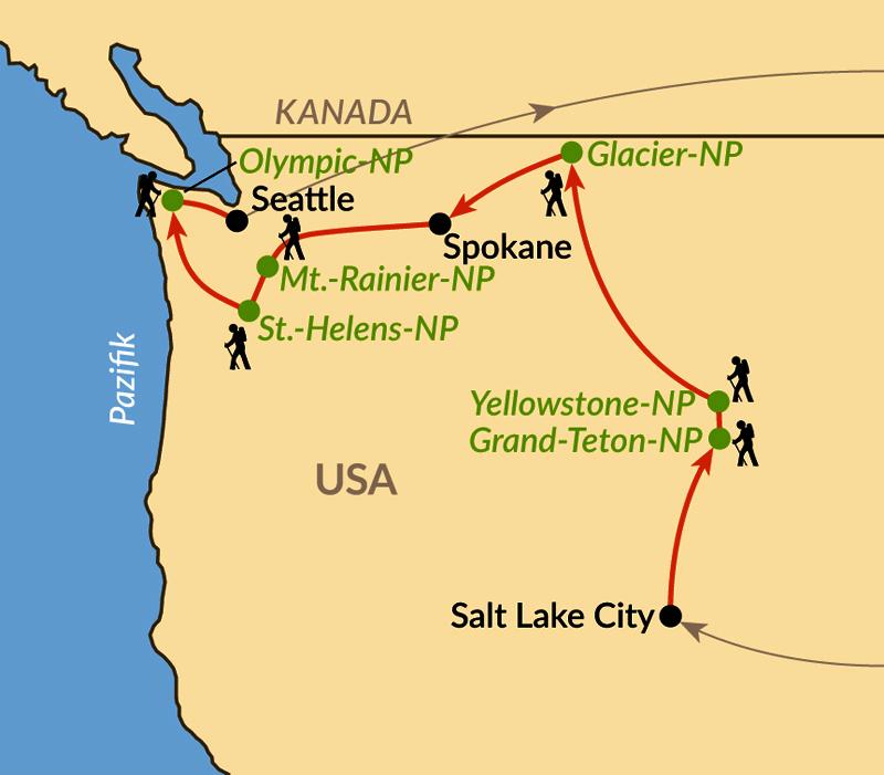 Karte: Naturreise vom Yellowstone zum Pazifik