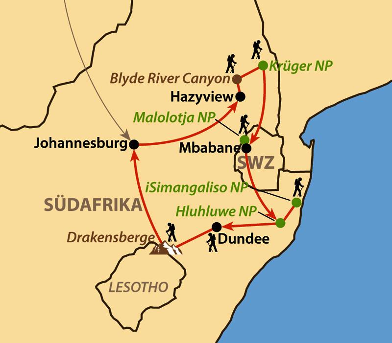 Karte: Zu Fuß durch Südafrikas bergigen Osten