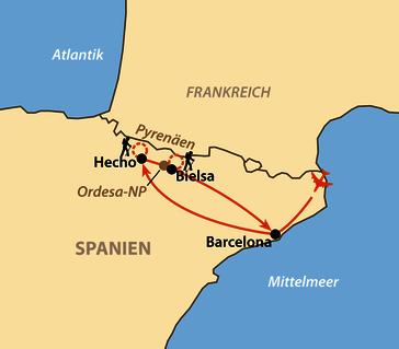 Karte: Zu Fuß durch die Zentralpyrenäen