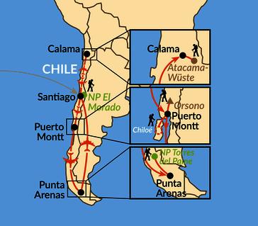 Karte: Im Land der Extreme - von der Atacama-Wüste nach Patagonien