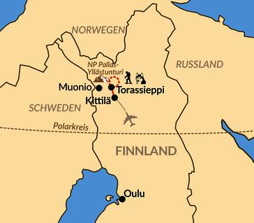 Karte: Erlebniswoche im  Winterdorf in Finnisch-Lappland