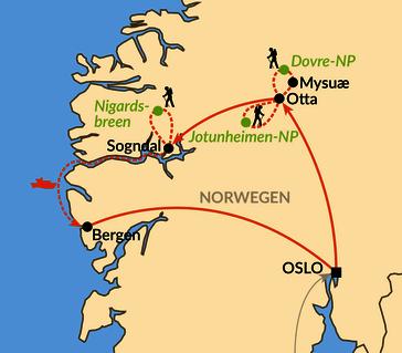 Karte: Von Oslo nach Bergen