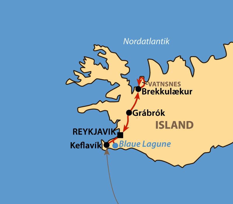 Karte: Nordlicht, Eis und Winterstille