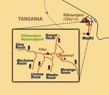 Karte: Der Kilimanjaro-Marathon und Besteigung