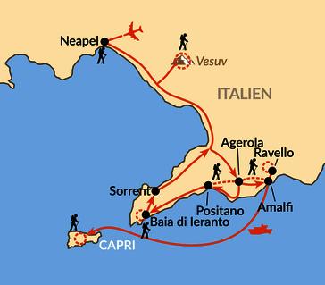 Karte: Süditalien - von der Amalfiküste zum Vesuv