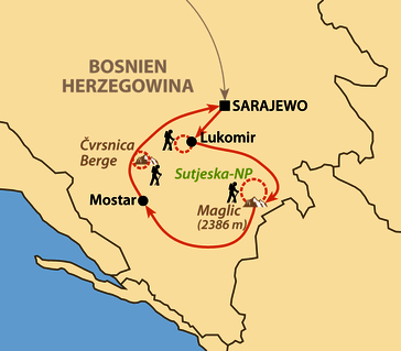 Karte: Bosniens urwüchsige Bergwelt