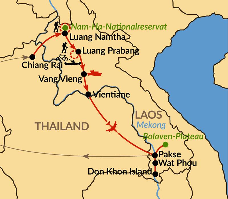 Karte: Unbekanntes Juwel am Mekong –  intensiv und aktiv von Norden nach Süden