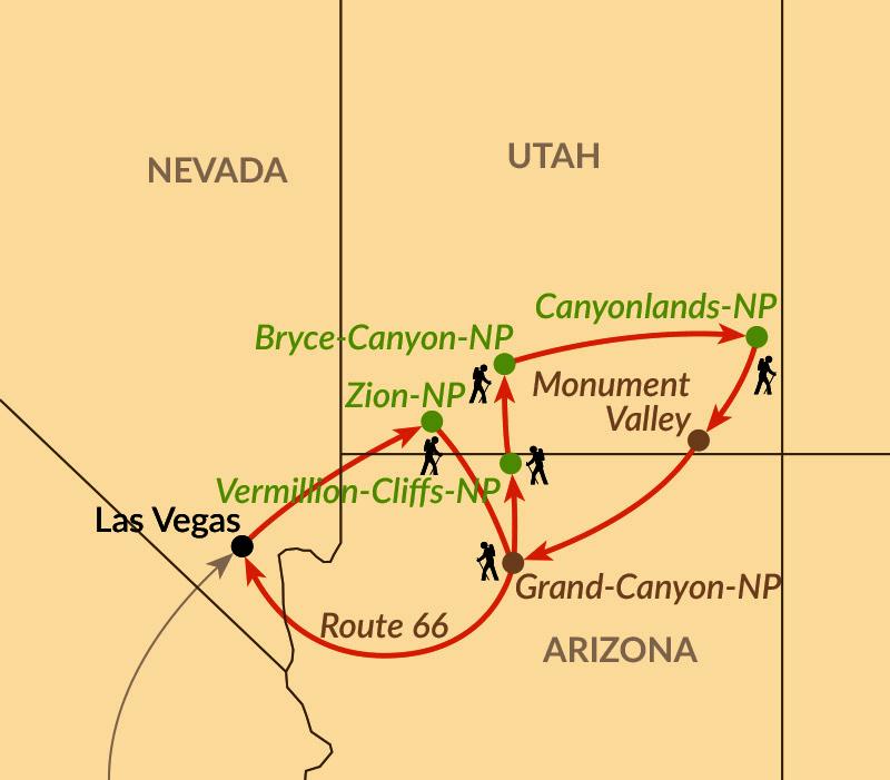Karte: Wandertraum im Land der Canyons