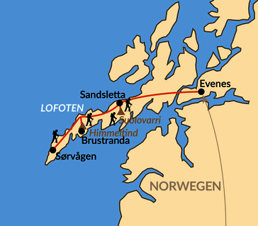 Karte: Auf den Gipfeln der Lofoten