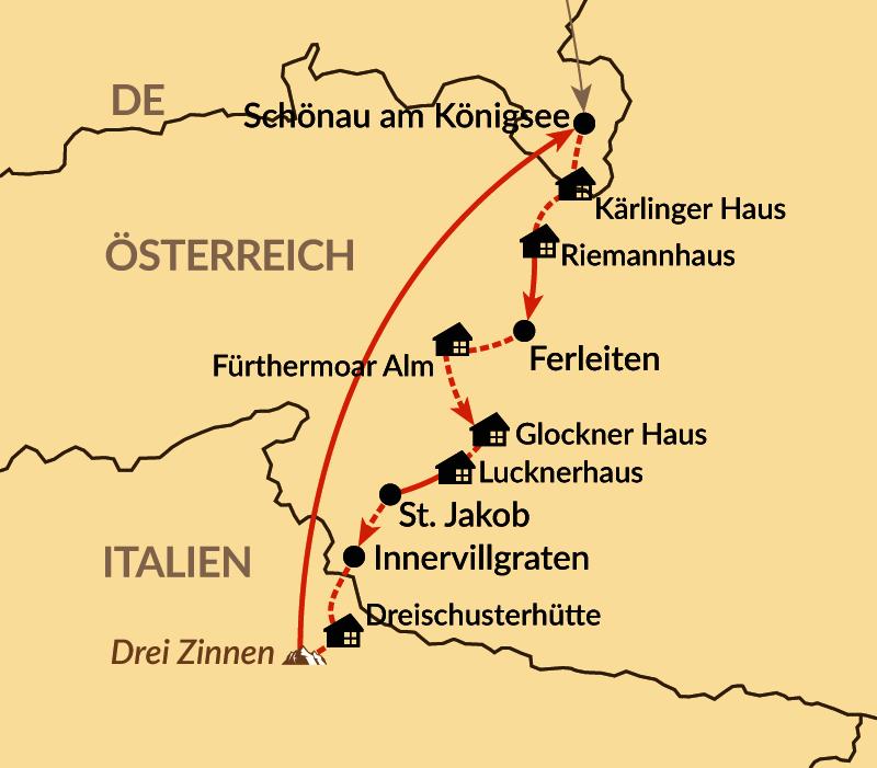 Karte: Vom Watzmann zu den Drei Zinnen