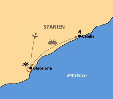 Karte: Laufcamp in Calella und Barcelona-Halbmarathon