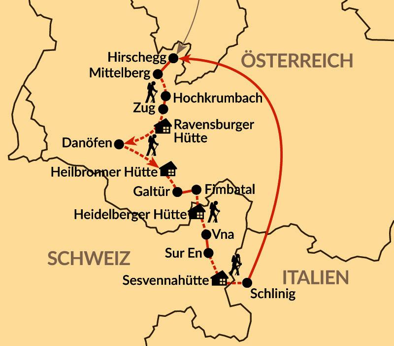 Karte: Auf Ötzis Spuren über die Alpen