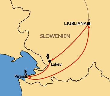 Karte: Wandern entlang der Küste und des slowenischen Karsts